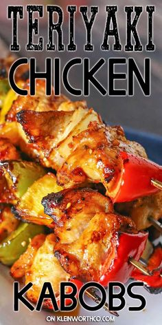 Summer Grilling Recipes 82860 Teriyaki Chicken Kabobs are an easy chicken kebab recipe that is perfect for your summer grilling parties. Juicy flavorful, great for tailgating more. Easy Chicken Kebab Recipe, Easy Chicken Dinner Recipes, Chicken Kabobs, Grilled Chicken Recipes, Recipes Dinner, Chicken Kabob Marinade, Grilled Food, Teriyaki Chicken, Summer Grilling Recipes
