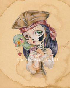 Un rêve dans une bouteille à tirage limité signé numéroté Simona Candini OS et poésie lowbrow pop surréaliste grands yeux pirate art crâne