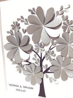 Wedding Guest Book Alternative - 3D Heart guestbook - pearl silver guest book - Unique Guestbook Alternative - folded heart paper guestbooks