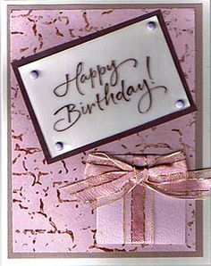 Message Stamped On Vellum Attached With Brads Present Ribbon Love Birthday Cards
