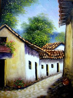 Landscape Drawings, Landscape Art, Landscape Paintings, Love Painting, Artist Painting, Watercolor Paintings, Pictures With Meaning, Mexican Artwork, Indian Paintings