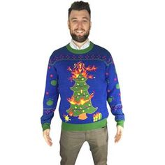 Oh Christmas Tree Adult Ugly Christmas Sweater - 408157 | trendyhalloween.com Career Costumes, Men's Costumes, Halloween Costumes, Cool Suits, Suits You, Movie Character Costumes, Christmas Tree With Presents, Trendy Halloween, Scary Clowns