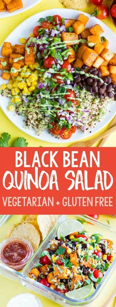 This healthy vegetarian Black Bean Quinoa Salad is fast, flavorful, and easily m. This healthy vegetarian Black Bean Quinoa Salad is fast, flavorful, and easily made in advance for Salade Healthy, Healthy Salads, Healthy Recipes, Fast Recipes, Healthy Lunches, Cheap Recipes, Healthy Dishes, Food Dishes, Clean Eating Snacks