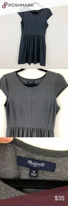 Madewell Gray Skater Dress 🌺 🌺Madewell Skater Dress 🌺Rich gray 🌺Nice stretch to material  🌺Size medium 🌺Pit to pit 17inches, waist 14 inches, shoulder 14inches, length 31 Madewell Dresses Mini