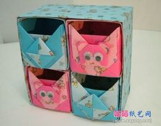 Origami shelf and sliding boxes with animal faces. Could be a fox? Origami Organiser, Box Origami, Origami And Quilling, Origami And Kirigami, Origami Ball, Origami Bookmark, Quilling Paper Craft, Paper Crafts Origami, Origami Flowers
