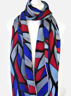Hand Painted Silk Scarf With A Multi Coloured by SimplySilkScarves