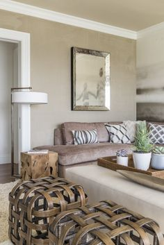 A Naturally Glamorous Home in Marin County | Interior Design by Ann Lowengart of Ann Lowengart Interiors | Photography by David Duncan Livingston | Modern Sanctuary | Family Room | Contemporary Family Room | Media Room | Taupe Family Room | Seating | Lighting