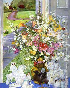 Christiane Kubrick ~ White Flowers and Staffordshire China