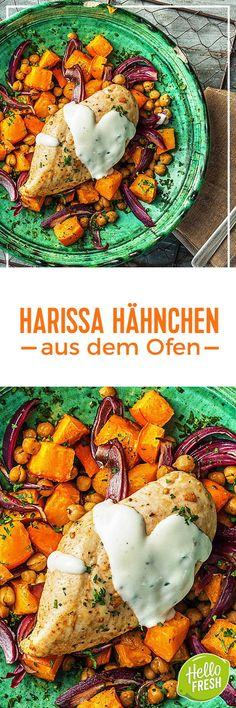 Rezept: Ofen Harissa Hähnchen mit Süßkartoffel Kichererbsen Gemüse und Joghurt Kochen / Essen / Ernährung / Lecker / Kochbox / Zutaten / Gesund / Schnell / Frühling / Einfach / DIY / Küche / Gericht / Blog / Leicht / selber machen / backen / Hähnchenbrust #hellofreshde #kochen #essen #zubereiten #zutaten #diy #rezept #selbermachen #backen #hähnchen #harissa #scharf #afrikanisch #glutenfrei #süßkartoffel #hähnchenbrust