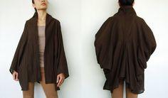NO89    Dark Brown Cotton Kimono Blouse Tie  Front by JoozieCotton, $43.00