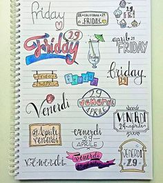 IT'S FRIDAY! some inspiration for your next friday! _ un po' d'ispirazione per il vostro prossimo venerdi (english/italiano) Journal Layout, Journal Pages, Doodles, Pretty Notes, Sketch Notes, School Notes, Bullet Journal Inspiration, Doodle Art, Word Art