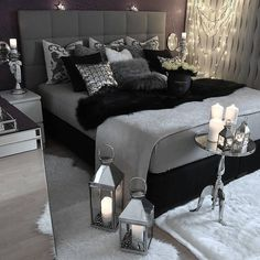 gray bedroom with pop of color ; gray bedroom ideas with pop of color ; gray bedroom ideas for couples ; White Bedroom, Damask Bedroom, Black Bedroom Decor, Black And Grey Bedroom, Black Master Bedroom, Black Bed Room Ideas, Bedroom Simple, Trendy Bedroom, Bedroom Wallpaper