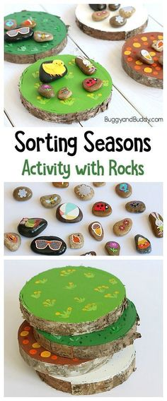 Four Seasons Activity for Preschool and Kindergarten: Sort story stones or picture stones (or painted rocks) onto wooden circles depicting spring, summer, fall, and winter. A fun seasonal art and craft activity and learning center! ~ BuggyandBuddy.com #EverydayArtsandCrafts