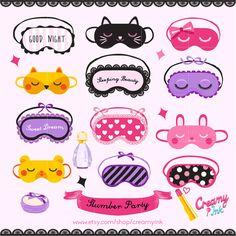 Slumber Party Digital Vector Clip art / Sleepover Clipart Design Illustration /Sleeping Mask, Girls Night, Eye Mask, Make up, Pajamas/ by CreamyInk on Etsy https://www.etsy.com/uk/listing/247895074/slumber-party-digital-vector-clip-art