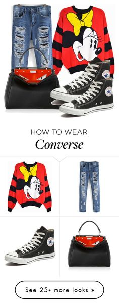 """Untitled #1438"" by johalz on Polyvore featuring Disney, Fendi, Converse, women's clothing, women's fashion, women, female, woman, misses and juniors"