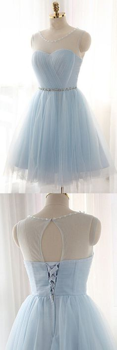 Knee-Length A-Line/Princess Tulle Sky Blue Homecoming Dress Check out our blue tulle dress selection for the very best in unique or custom, handmade pieces. Lalamira offers high quality sky blue tulle homecoming dresses in all various styles, shop now! Simple Homecoming Dresses, Simple Prom Dress, Formal Dresses For Teens, A Line Prom Dresses, Tulle Prom Dress, Cheap Prom Dresses, Short Dresses, Graduation Dresses, Two Piece Homecoming Dress