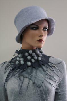 "Wool Collar scarf ""Dark and light grey"""