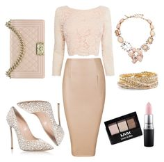 """""""All nude everything"""" by itsmaggie4 on Polyvore featuring Coast, Casadei, Chanel, Torrid, Oscar de la Renta, NYX and MAC Cosmetics"""