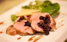 Wild Rice Dried Blueberry Stuffed Pork Tenderloin With Watercress Apple Salad And Apple Cider Vinaigrette