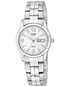 Citizen Quartz Ladies Day/Date Watch - Silver-Tone Dial - Steel Case & Bracelet