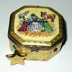 LIMOGES BOX - ROCHARD - CHRISTMAS - NATIVITY SCENE - REMOVABLE GOLD STAR INSIDE in Collectibles, Decorative Collectibles, Decorative Collectible Brands, Limoges, Trinket Boxes | eBay