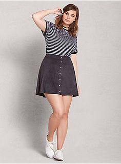 Faux Suede Button Mini Skirt | LOVESICK