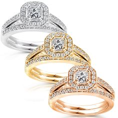 Boasting an elegant yet simple design, this stunning bridal set showcases a princess-cut diamond engagement ring detailed with a halo of round-cut stones and complemented by a matching wedding band. Fourteen karats of gold complete this beautiful set.