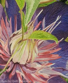 """A Passion for Purple, 37 x 32"""", by Andrea Brokenshire.  2nd place, Wall Quilt - Landscape.  2016 AQS QuiltWeek (Phoenix).  Closeup photo by Quilt Inspiration."""