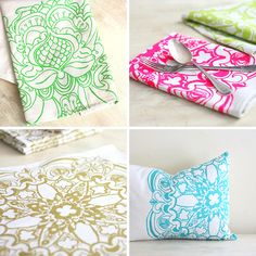 Easy DIY fabric painting with sentcils. Try it on cushions, tablecoths or curtains with Pebeo 's new Setacolor range!