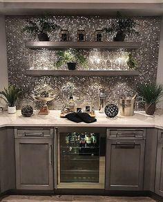 Trendy home bar designs basement wine cellar - decorationroommen Home Bar Areas, Home Bar Designs, Basement Designs, Wet Bar Designs, Penny Tile, Trendy Home, Bars For Home, In Home Bar Ideas, House Ideas