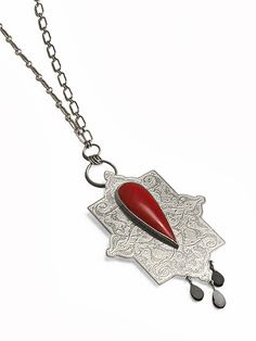 Toranj Necklace | etched sterling silver, red sponge coral, and black spinel | Drew Curtright | drewcurtrightdesigns.com