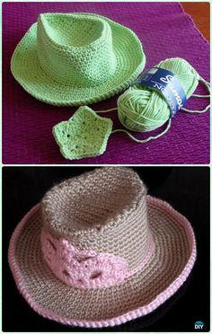 Crochet Kid's Cowboy Sun Hat Free Pattern - #Crochet Boys Sun Hat Free Patterns