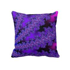 Purple and Hot Pink Floral Fractal Throw Pillow