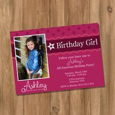 American Girl Inspired Birthday Party Invitation with Photo (Digital - DIY) via Etsy