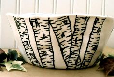 Birch Tree Bowl - Custom HandMade TO ORDER - Painted Textured Graphic Woodland Aspen Forest Serving Dish - Soup, Salad, Cereal Dessert size