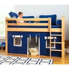 Kids Bunk Beds Storage on Kids Austin Twin Complete Low Loft Bed Low Height Full Loft Bunk Bed Jones Zander Boys Loft Beds, Loft Bunk Beds, Kid Beds, Low Loft Beds For Kids, Bunk Bed Fort, Playhouse Bed, Little Boy Beds, Murphy Bed Plans, House Beds
