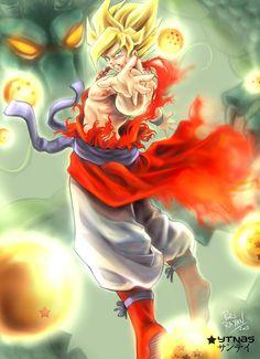 En esta imagen se ve que goku esta volando sangrando y con un traje y alrededor esferas del dragon