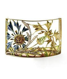 LUCIEN GAILLARD | An 18 carat gold French plique-a-jour enamel Art Nouveau choker.