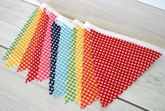 Birthday Decoration, Photography Prop, Cake Smash, Fabric Banner, Fabric Flags, Nursery Decor - Colorful, Rainbow, Gingham - Ready to Ship