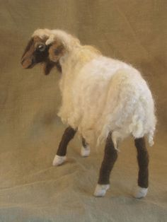 Needle felted Bedouin sheep poseable animal by Ainigmati on Etsy, $150.00