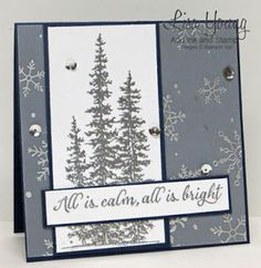 Stampin' UP! Wonderland stamp set. Silver embossed pine trees. Snowflake vellum. Handmade Christmas card by Lisa Young, Add Ink and Stamp