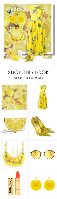 """Yellow"" by jonna-hansen ❤ liked on Polyvore featuring Alice + Olivia, VIVETTA, Kayu, Kenzo, Jimmy Choo, Nasty Gal, Oscar de la Renta, Too Faced Cosmetics, contest and yellow"