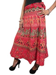Indian Wrapskirt Red Printed Cotton Long Maxi Summer Wrap Around Skirts