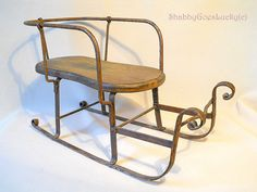 Antique German Iron Sled Sleigh With Wooden Seat 19th Century Baby Or Dolls…