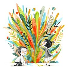 The finished spring drawing. Being inspired by #lillarogers fabulous March trend board from the Assignment Bootcamp!  #makeartthatsells #matskidbook #childrensbookillustration #kidlitart #brushpen #illustratorsoninstagram #colorsofspring #womenillustrators