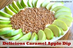 Echoes of Laughter: Apple Treats Week: Decandent Caramel Apple Dip... made mine with 8oz reduced fat cream cheese, 1/2 cup loosely packed brown sugar and marzetti caramel dip (plus toffee bits)