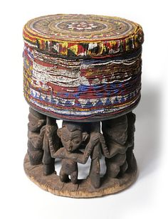 Africa | Chief's stool from Cameroon | Wood and glass beads