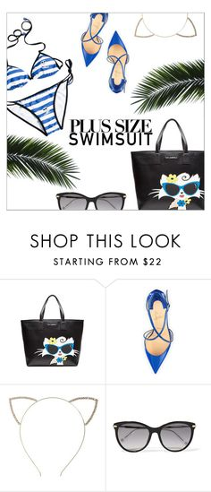 """Stylish Curves: Swimwear Edition"" by danielle-487 ❤ liked on Polyvore featuring Karl Lagerfeld, Christian Louboutin, Cara, Gucci, stylishcurves and plussizeswimsuit"