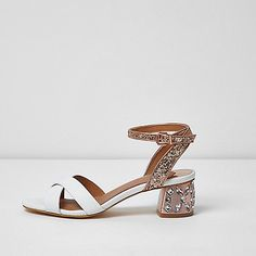 Faux leather upper Glitter texture strap Gem embellished heel Double toe strap Buckle fastening