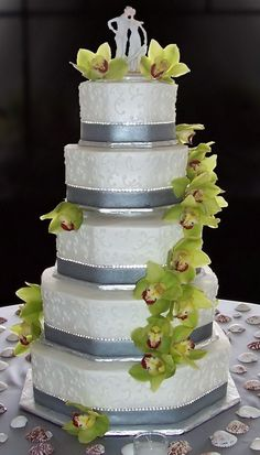 White Silver Wedding Cakes With Orchids